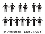 set of people icons in black... | Shutterstock .eps vector #1305247315