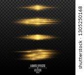 set of golden light effects on... | Shutterstock .eps vector #1305250168