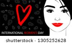 beautiful woman women's day... | Shutterstock .eps vector #1305252628