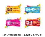 set of sale banner template... | Shutterstock .eps vector #1305257935