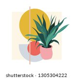plant illustration. potted... | Shutterstock .eps vector #1305304222