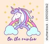 cute unicorn cartoon character... | Shutterstock .eps vector #1305320362