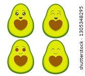cute avocado collection vector | Shutterstock .eps vector #1305348295