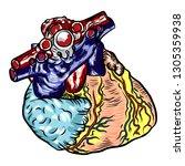 anatomical human heart sketch... | Shutterstock .eps vector #1305359938