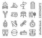 camping vector line icon set.... | Shutterstock .eps vector #1305362872