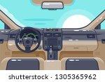 flat insides of car interior... | Shutterstock .eps vector #1305365962