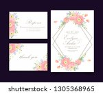 floral wedding invitation with... | Shutterstock .eps vector #1305368965