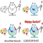 egg painter with a brush and...   Shutterstock .eps vector #130539545