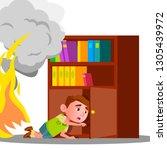 kid boy climbs into cabinet... | Shutterstock .eps vector #1305439972