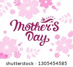 happy mother's day text on... | Shutterstock .eps vector #1305454585