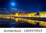 night city river reflection... | Shutterstock . vector #1305474925