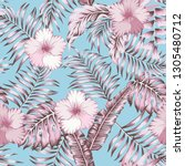 pink tropical palm leaves and... | Shutterstock .eps vector #1305480712