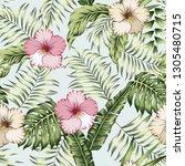green tropical banana palm... | Shutterstock .eps vector #1305480715