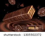 chocolate with coffee beans and ... | Shutterstock .eps vector #1305502372