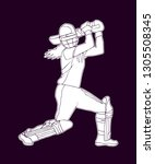female cricket. abstract woman... | Shutterstock .eps vector #1305508345