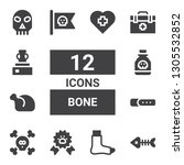 bone icon set. collection of 12 ... | Shutterstock .eps vector #1305532852