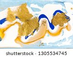 blue and gold marbling pattern. ... | Shutterstock . vector #1305534745