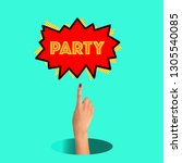 trendy art collage. party is... | Shutterstock . vector #1305540085