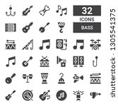 bass icon set. collection of 32 ... | Shutterstock .eps vector #1305541375