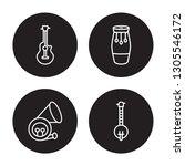 4 linear vector icon set  ... | Shutterstock .eps vector #1305546172
