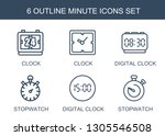 6 minute icons. trendy minute... | Shutterstock .eps vector #1305546508