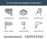 blowing icons. trendy 6 blowing ... | Shutterstock .eps vector #1305551962