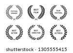 film awards. set of black and... | Shutterstock .eps vector #1305555415