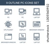 pc icons. trendy 9 pc icons.... | Shutterstock .eps vector #1305560932