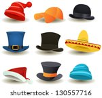 caps  top hats and other head... | Shutterstock .eps vector #130557716