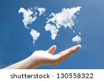 World Map Cloud Shape Floating...