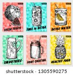 set colorful healthy food... | Shutterstock .eps vector #1305590275
