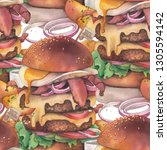 huge watercolor burger with two ... | Shutterstock . vector #1305594142