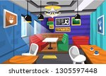 cafe interior ideas with food... | Shutterstock .eps vector #1305597448