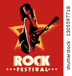retro rock festival or rock... | Shutterstock .eps vector #1305597718