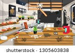 dirty coffee shop pantry with... | Shutterstock .eps vector #1305603838