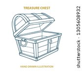 empty treasure chest hand drawn ... | Shutterstock .eps vector #1305608932