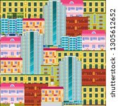 city scape seamless pattern.... | Shutterstock .eps vector #1305612652