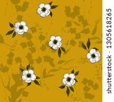 flower pattern hand drawn style ... | Shutterstock .eps vector #1305618265