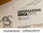 """Small photo of Italy - 06/02/2019: The """"Certificazione Unica"""" (that means """"single certification""""), or """"Modello CU"""", in Italy is the cumulative attestation of the income of self-employment, employee and pension"""