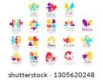 vector set of multi colored... | Shutterstock .eps vector #1305620248