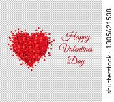 card with red heart transparent ... | Shutterstock .eps vector #1305621538