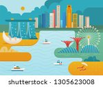singapore city skyline.... | Shutterstock .eps vector #1305623008