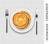 plate with fork and knife with... | Shutterstock . vector #1305624025