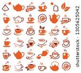 tea icon collection   vector... | Shutterstock .eps vector #1305625042
