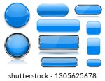 blue glass buttons. collection... | Shutterstock .eps vector #1305625678