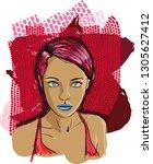 beauty of girls 001 | Shutterstock .eps vector #1305627412