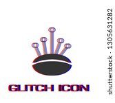 pincushion with pins icon flat. ... | Shutterstock .eps vector #1305631282
