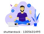 meditation man at work.... | Shutterstock .eps vector #1305631495