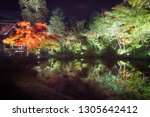 trees reflected in the water at ... | Shutterstock . vector #1305642412