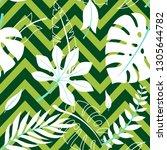 trendy summer tropical leaves... | Shutterstock .eps vector #1305644782